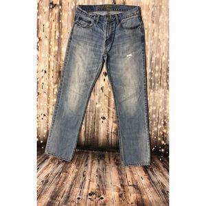 American Eagle light wash slim straight jeans